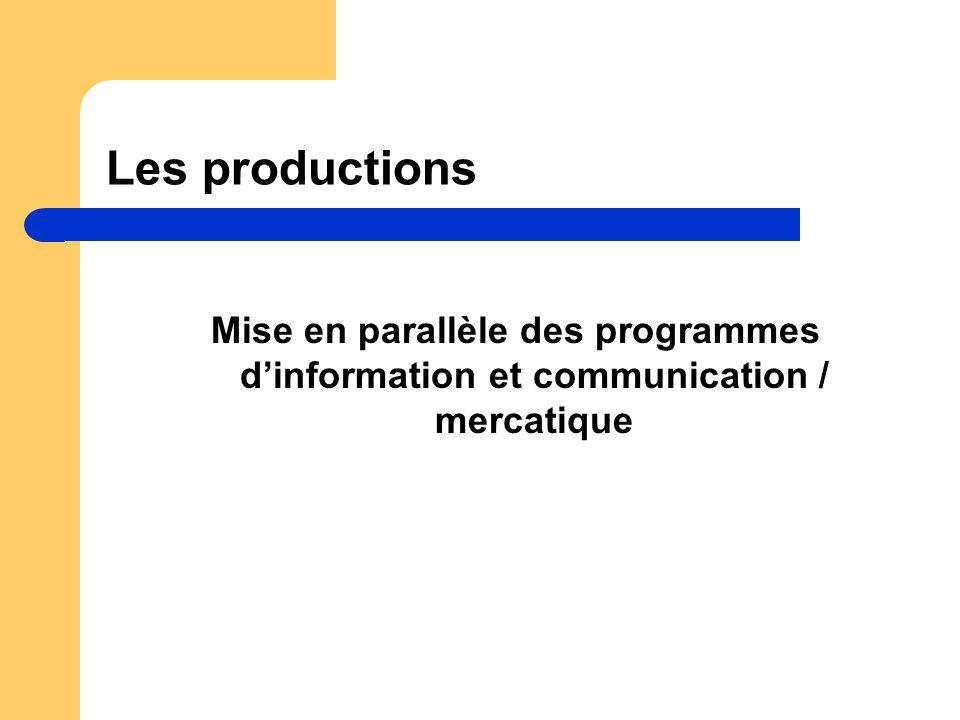 Les productions Mise en parallèle des programmes dinformation et communication / mercatique