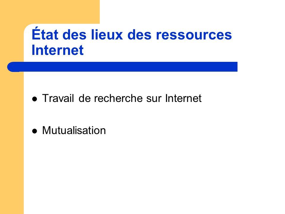 État des lieux des ressources Internet Travail de recherche sur Internet Mutualisation