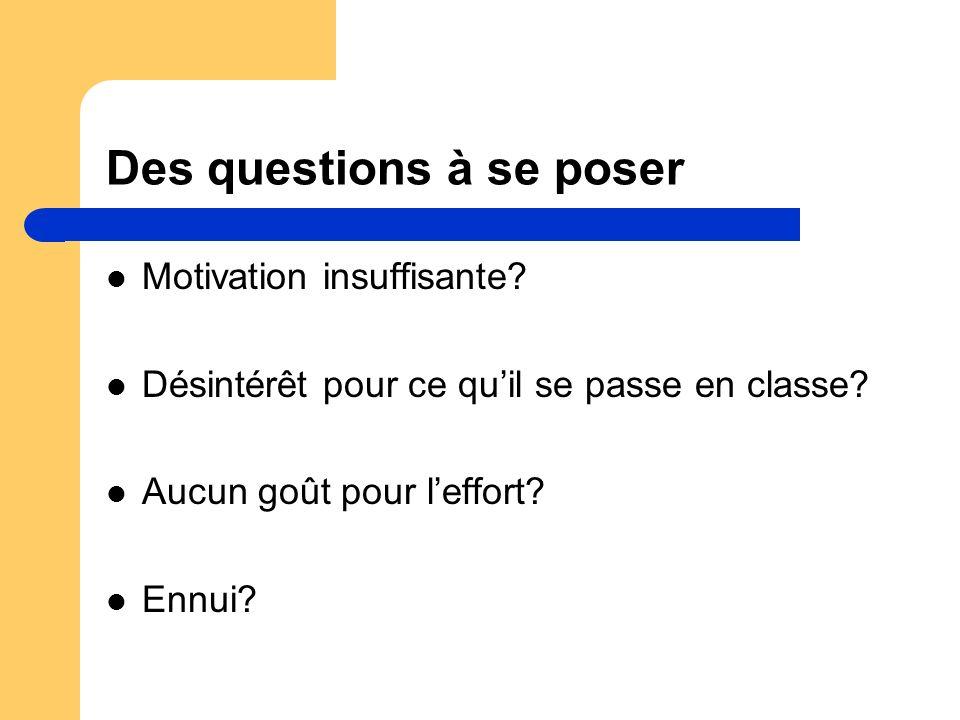 Des questions à se poser Motivation insuffisante? Désintérêt pour ce quil se passe en classe? Aucun goût pour leffort? Ennui?