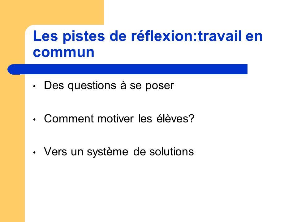 Les pistes de réflexion:travail en commun Des questions à se poser Comment motiver les élèves.