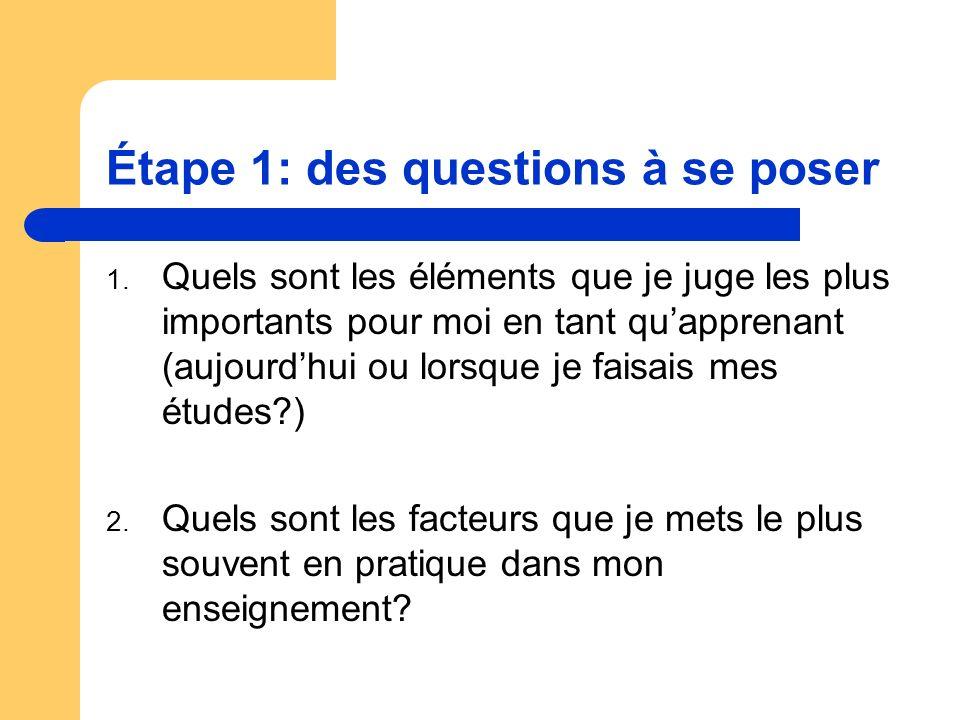Étape 1: des questions à se poser 1. Quels sont les éléments que je juge les plus importants pour moi en tant quapprenant (aujourdhui ou lorsque je fa