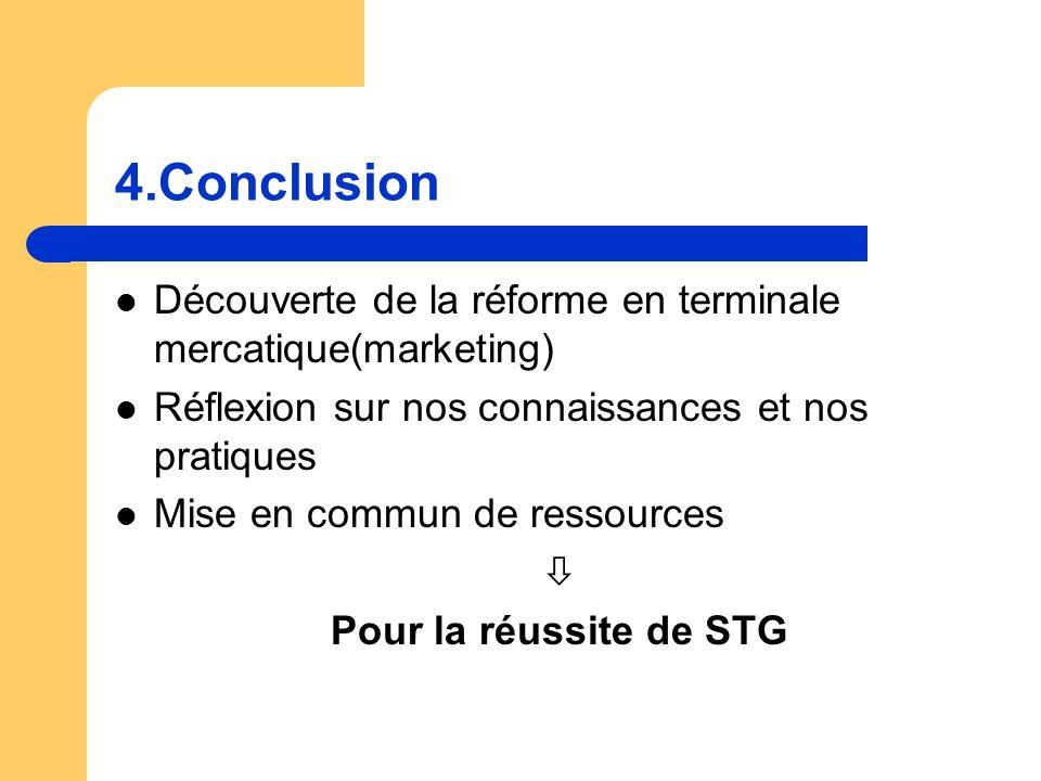 Découverte de la réforme en terminale mercatique(marketing) Réflexion sur nos connaissances et nos pratiques Mise en commun de ressources Pour la réussite de STG