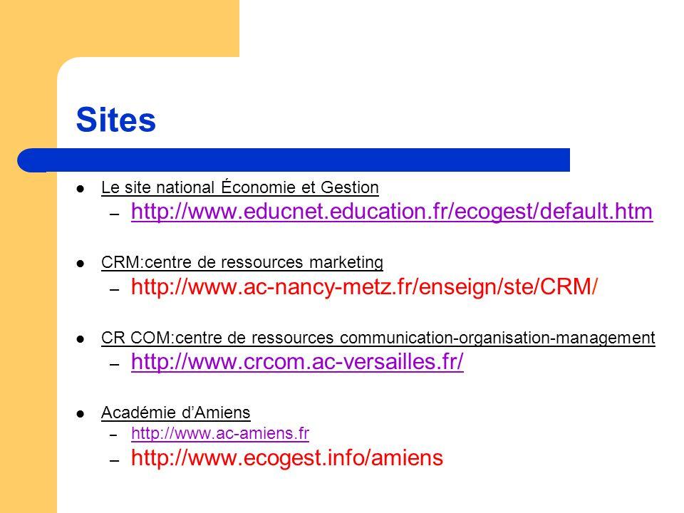 Sites Le site national Économie et Gestion – http://www.educnet.education.fr/ecogest/default.htm CRM:centre de ressources marketing – http://www.ac-nancy-metz.fr/enseign/ste/CRM/ CR COM:centre de ressources communication-organisation-management – http://www.crcom.ac-versailles.fr/ http://www.crcom.ac-versailles.fr/ Académie dAmiens – http://www.ac-amiens.fr http://www.ac-amiens.fr – http://www.ecogest.info/amiens