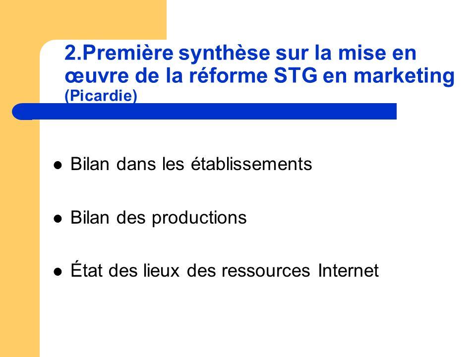 2.Première synthèse sur la mise en œuvre de la réforme STG en marketing (Picardie) Bilan dans les établissements Bilan des productions État des lieux des ressources Internet