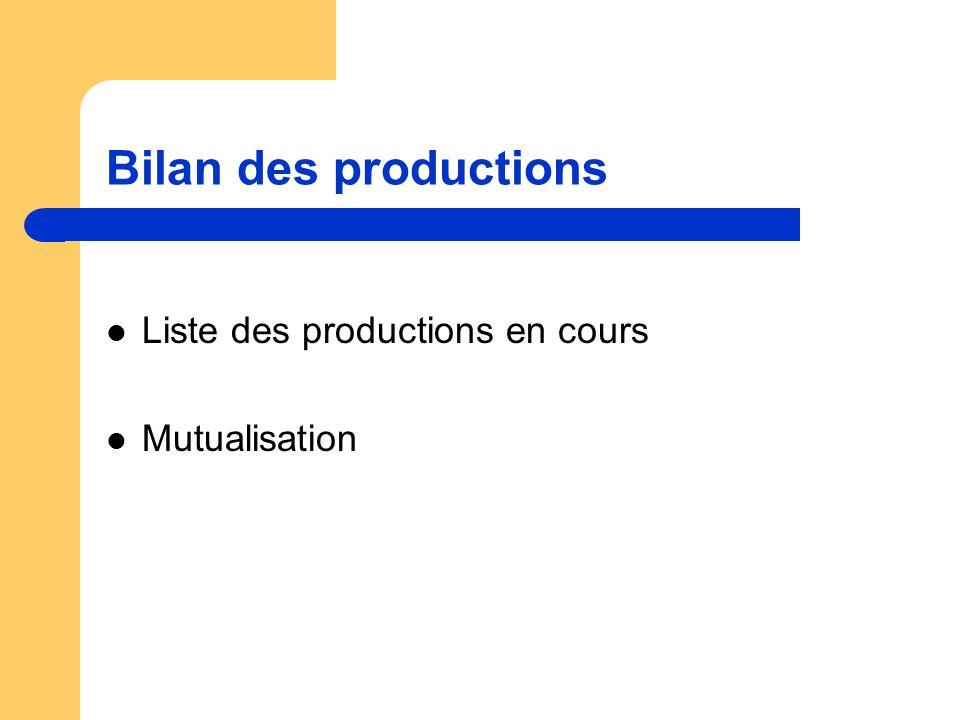 Bilan des productions Liste des productions en cours Mutualisation