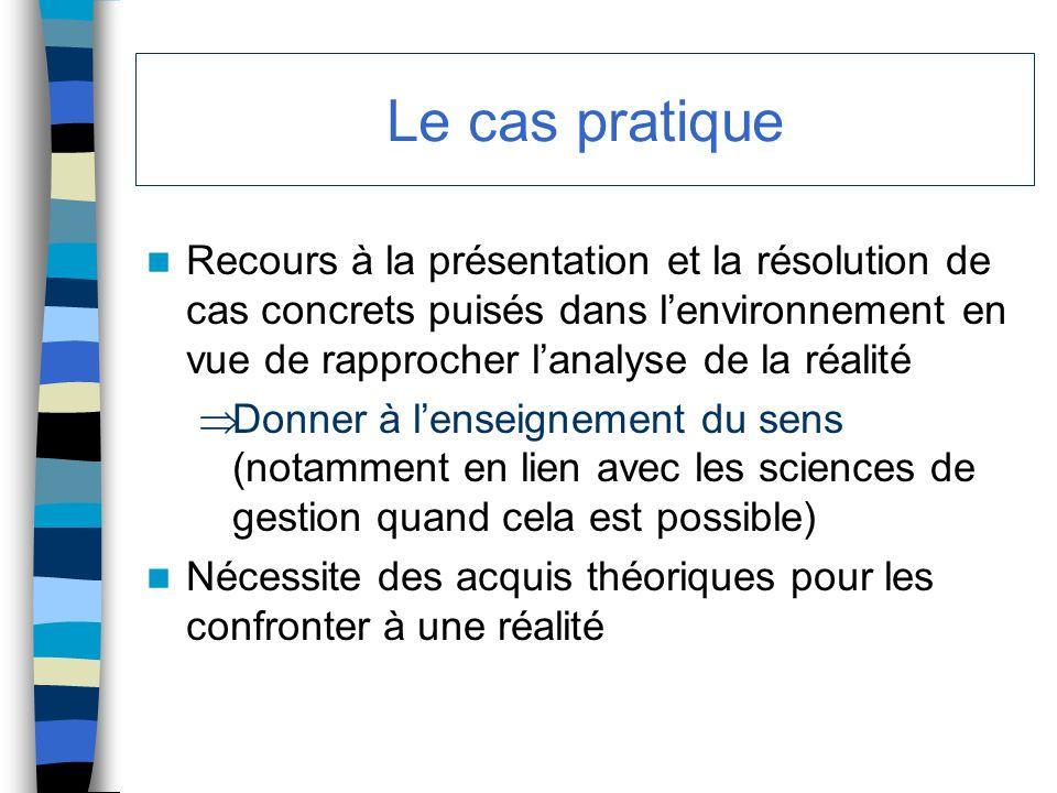 Le cas pratique Recours à la présentation et la résolution de cas concrets puisés dans lenvironnement en vue de rapprocher lanalyse de la réalité Donn
