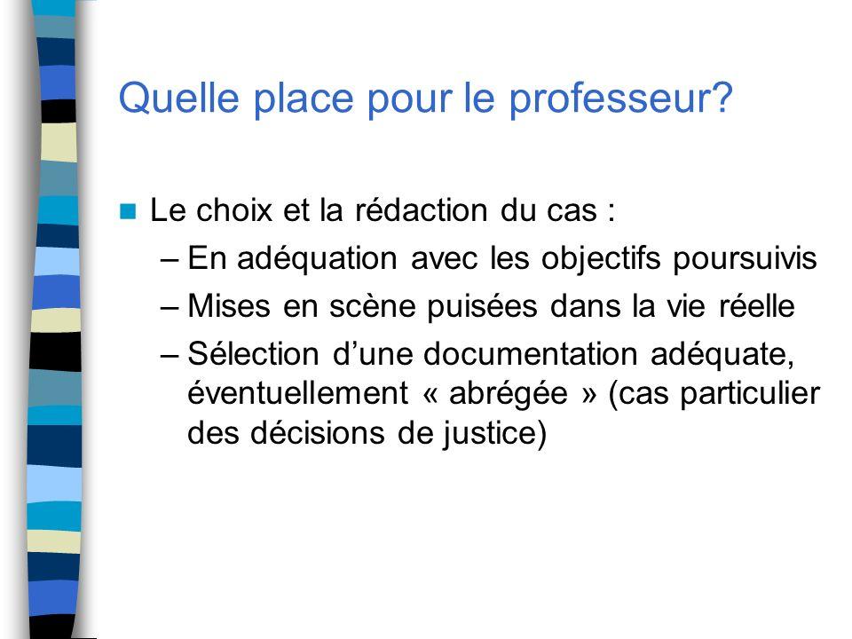 Quelle place pour le professeur? Le choix et la rédaction du cas : –En adéquation avec les objectifs poursuivis –Mises en scène puisées dans la vie ré