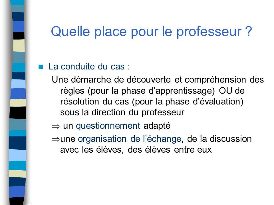 Quelle place pour le professeur ? La conduite du cas : Une démarche de découverte et compréhension des règles (pour la phase dapprentissage) OU de rés