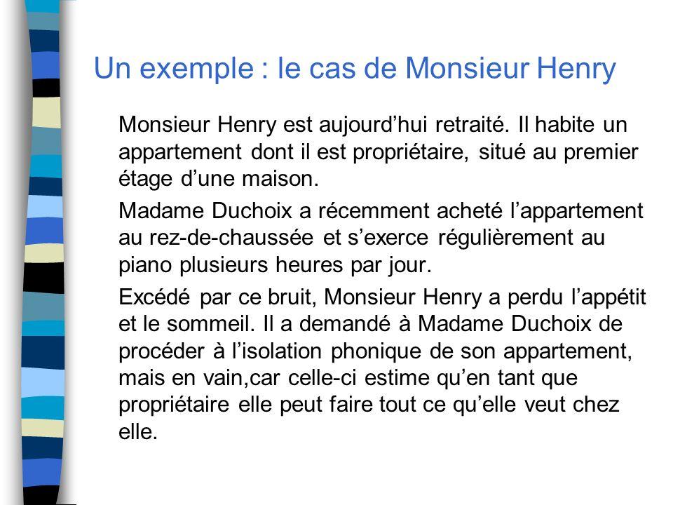 Un exemple : le cas de Monsieur Henry Monsieur Henry est aujourdhui retraité. Il habite un appartement dont il est propriétaire, situé au premier étag