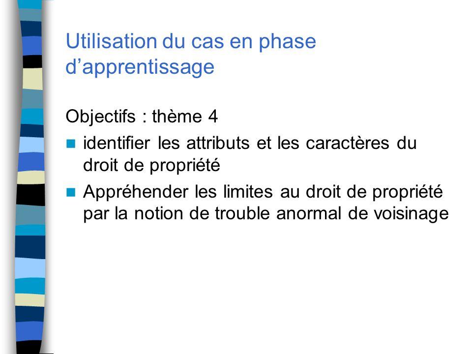 Utilisation du cas en phase dapprentissage Objectifs : thème 4 identifier les attributs et les caractères du droit de propriété Appréhender les limite