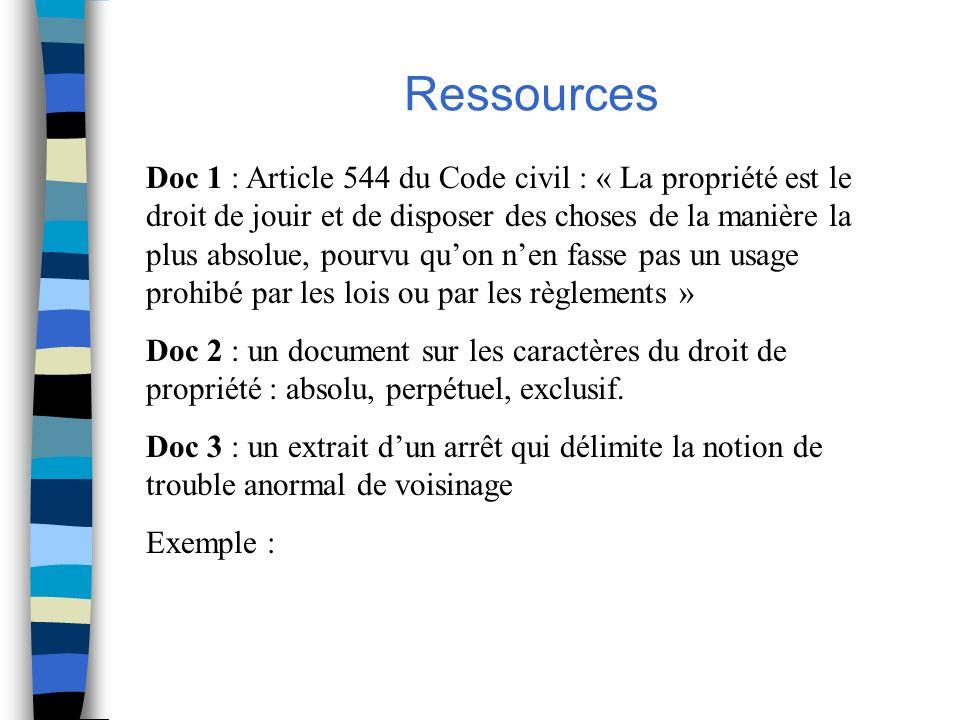 Doc 1 : Article 544 du Code civil : « La propriété est le droit de jouir et de disposer des choses de la manière la plus absolue, pourvu quon nen fass