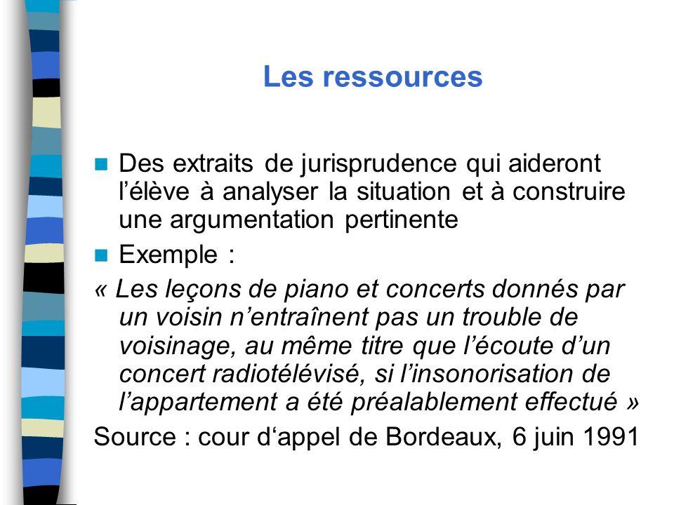 Les ressources Des extraits de jurisprudence qui aideront lélève à analyser la situation et à construire une argumentation pertinente Exemple : « Les