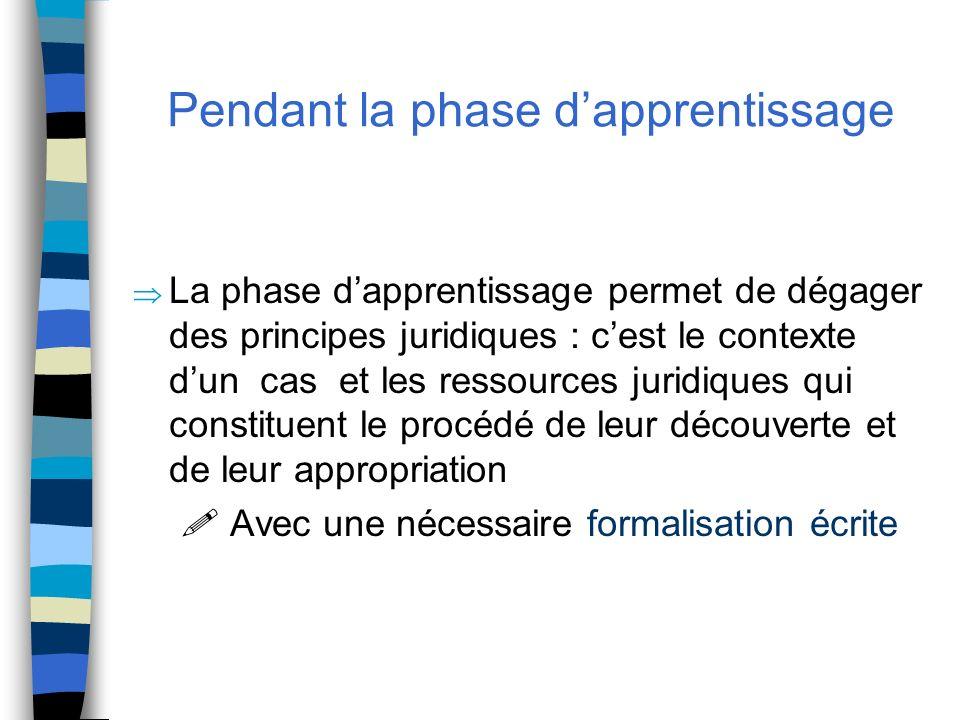 Pendant la phase dapprentissage La phase dapprentissage permet de dégager des principes juridiques : cest le contexte dun cas et les ressources juridi