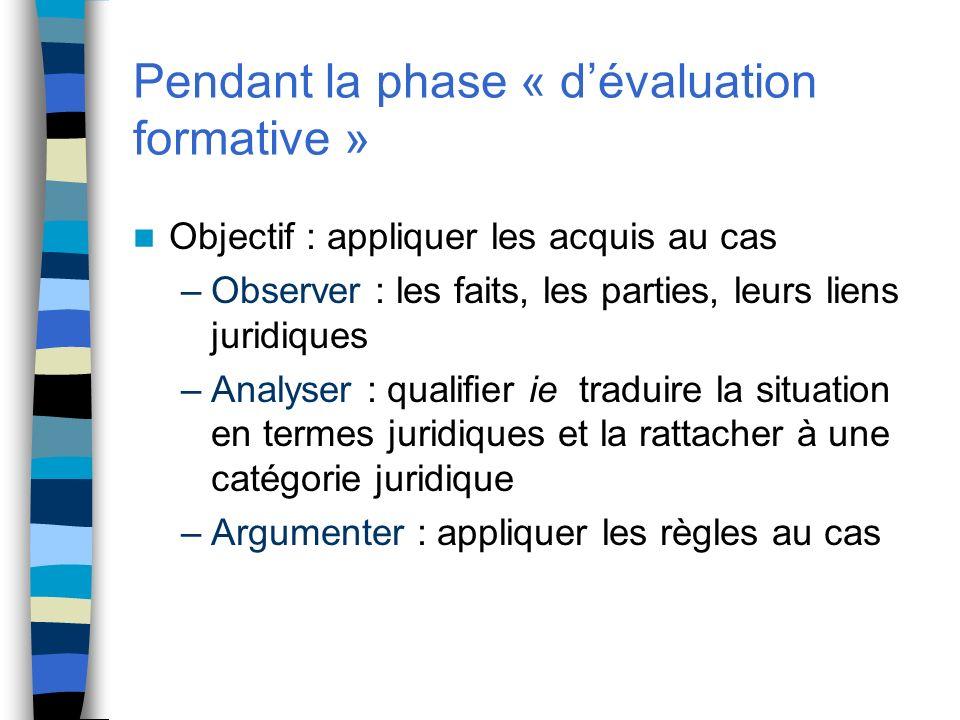 Pendant la phase « dévaluation formative » Objectif : appliquer les acquis au cas –Observer : les faits, les parties, leurs liens juridiques –Analyser