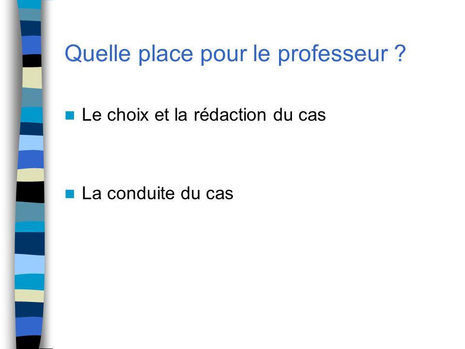 Quelle place pour le professeur ? Le choix et la rédaction du cas La conduite du cas