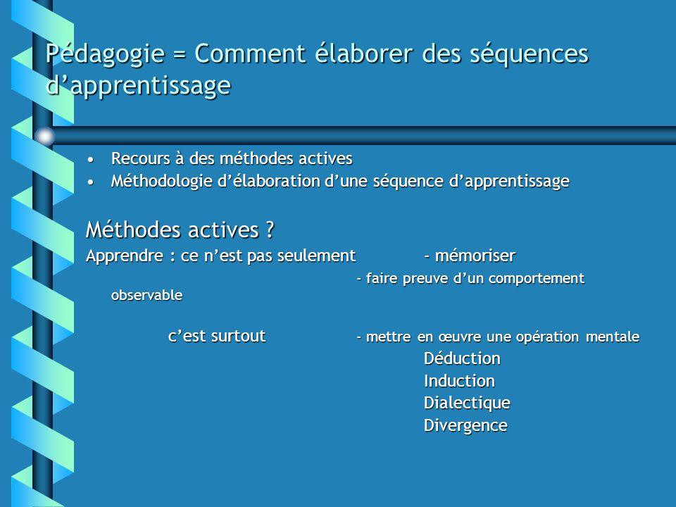 Pédagogie = Comment élaborer des séquences dapprentissage Recours à des méthodes activesRecours à des méthodes actives Méthodologie délaboration dune séquence dapprentissageMéthodologie délaboration dune séquence dapprentissage Méthodes actives .