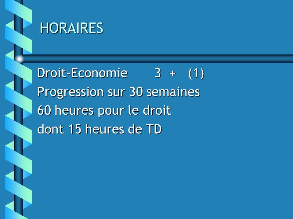 HORAIRES Droit-Economie3 + (1) Progression sur 30 semaines 60 heures pour le droit dont 15 heures de TD