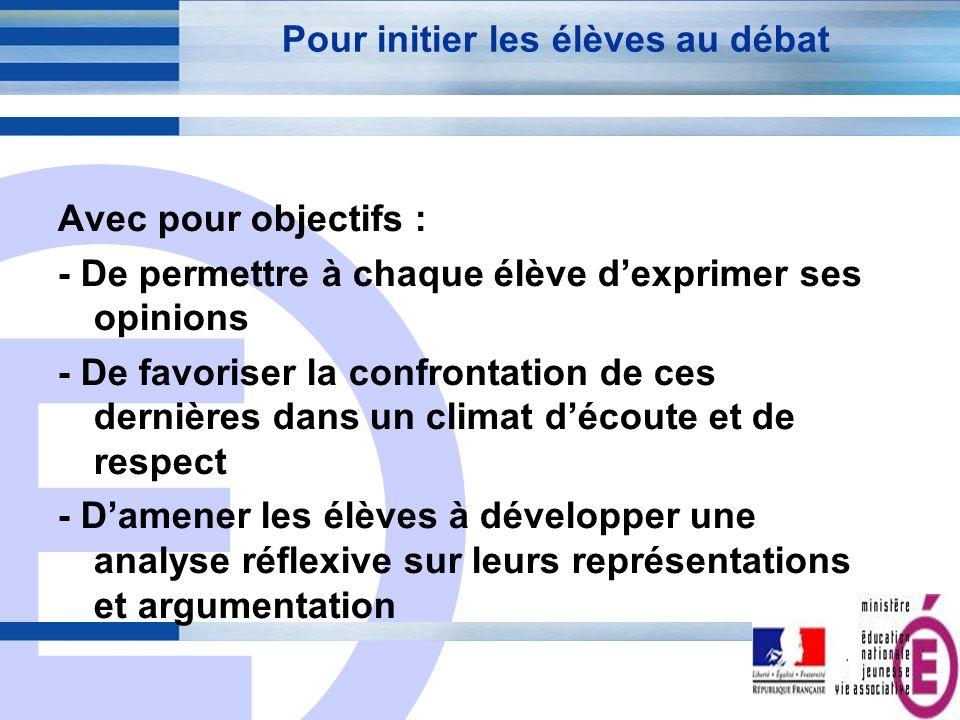 E 11 Pour initier les élèves au débat Avec pour objectifs : - De permettre à chaque élève dexprimer ses opinions - De favoriser la confrontation de ce