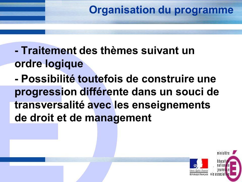 E 4 Organisation du programme - Traitement des thèmes suivant un ordre logique - Possibilité toutefois de construire une progression différente dans u