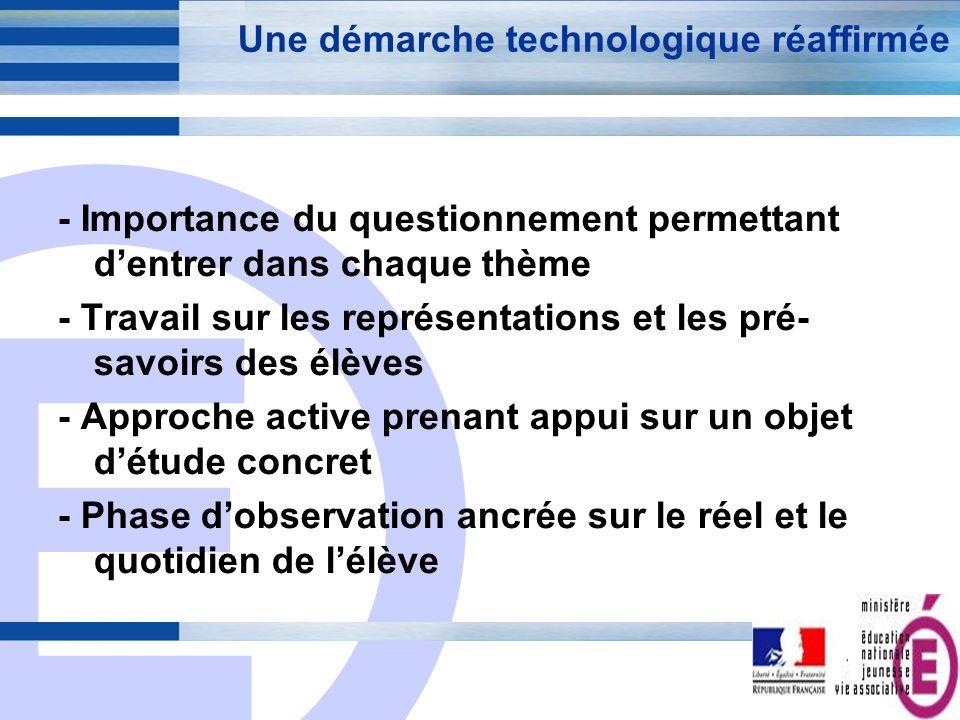 E 5 Une démarche technologique réaffirmée - Importance du questionnement permettant dentrer dans chaque thème - Travail sur les représentations et les