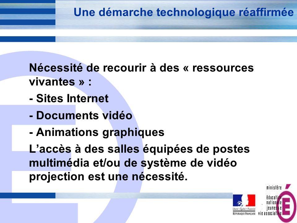 E 7 Une démarche technologique réaffirmée Nécessité de recourir à des « ressources vivantes » : - Sites Internet - Documents vidéo - Animations graphi