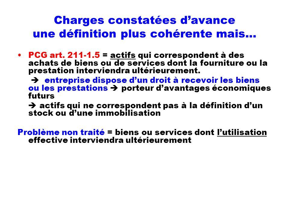 Charges constatées davance une définition plus cohérente mais… PCG art. 211-1.5 = actifs qui correspondent à des achats de biens ou de services dont l