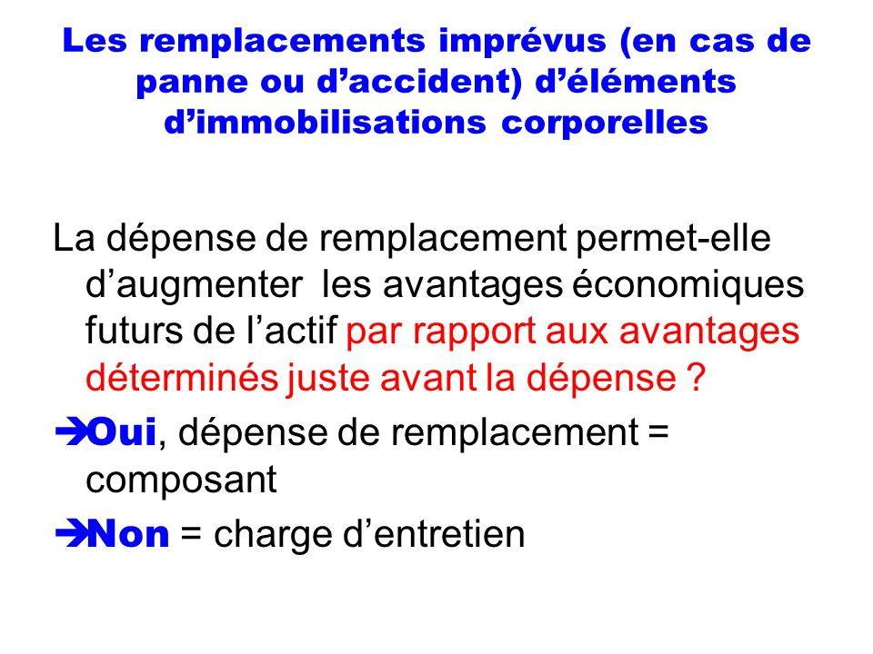 Les remplacements imprévus (en cas de panne ou daccident) déléments dimmobilisations corporelles La dépense de remplacement permet-elle daugmenter les