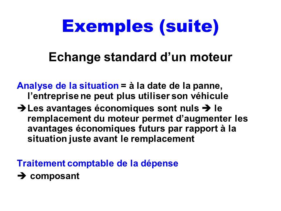 Exemples (suite) Echange standard dun moteur Analyse de la situation = à la date de la panne, lentreprise ne peut plus utiliser son véhicule Les avant