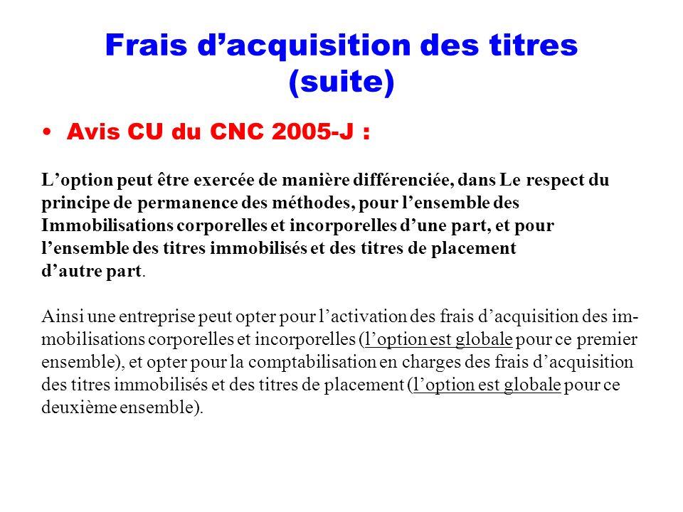 Frais dacquisition des titres (suite) Avis CU du CNC 2005-J : Loption peut être exercée de manière différenciée, dans Le respect du principe de perman