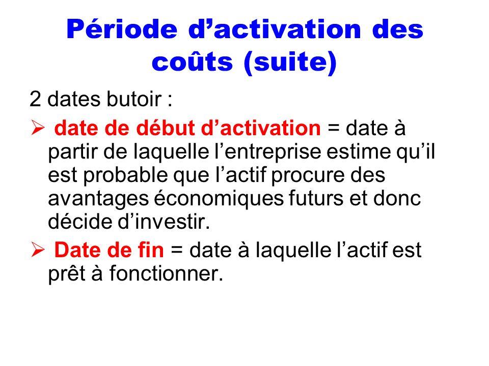 Période dactivation des coûts (suite) 2 dates butoir : date de début dactivation = date à partir de laquelle lentreprise estime quil est probable que