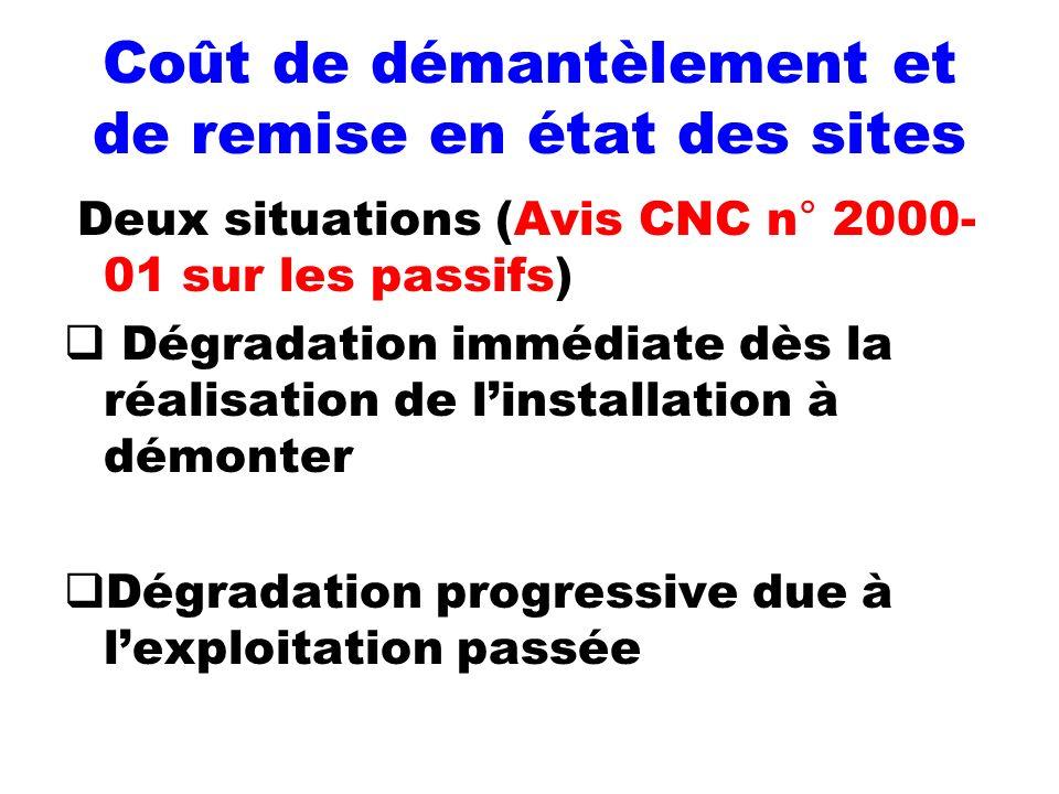 Coût de démantèlement et de remise en état des sites Deux situations (Avis CNC n° 2000- 01 sur les passifs) Dégradation immédiate dès la réalisation d