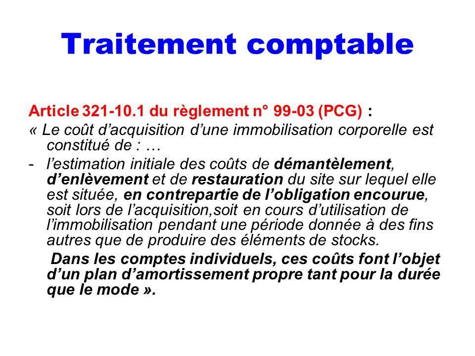 Traitement comptable Article 321-10.1 du règlement n° 99-03 (PCG) : « Le coût dacquisition dune immobilisation corporelle est constitué de : … -lestim
