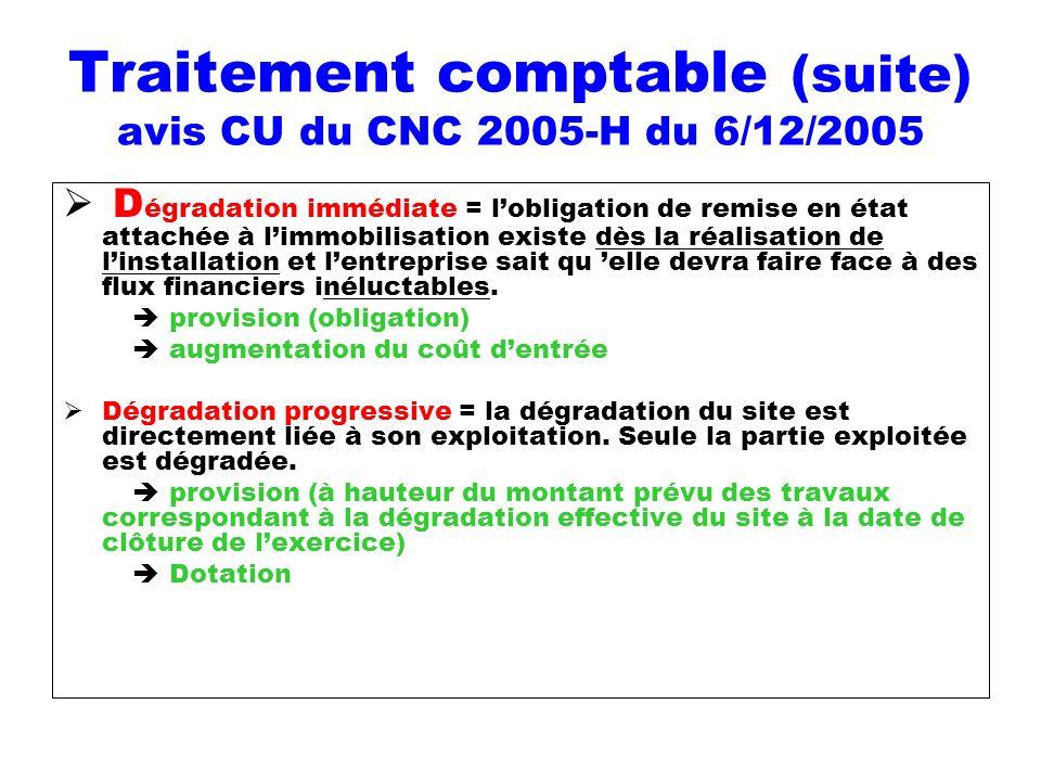 Traitement comptable (suite) avis CU du CNC 2005-H du 6/12/2005 D égradation immédiate = lobligation de remise en état attachée à limmobilisation exis
