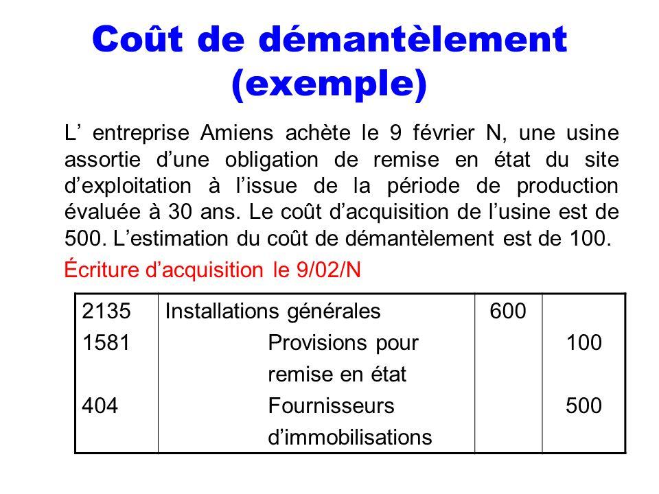 Coût de démantèlement (exemple) L entreprise Amiens achète le 9 février N, une usine assortie dune obligation de remise en état du site dexploitation