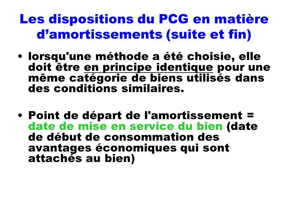 Les dispositions du PCG en matière damortissements (suite et fin) lorsqu'une méthode a été choisie, elle doit être en principe identique pour une même