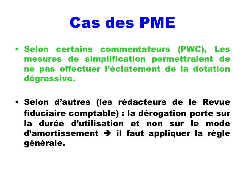 Cas des PME Selon certains commentateurs (PWC), Les mesures de simplification permettraient de ne pas effectuer léclatement de la dotation dégressive.