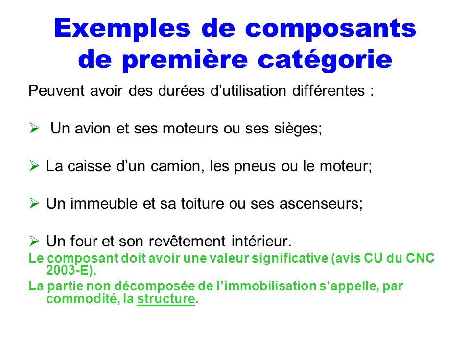 Exemples de composants de première catégorie Peuvent avoir des durées dutilisation différentes : Un avion et ses moteurs ou ses sièges; La caisse dun