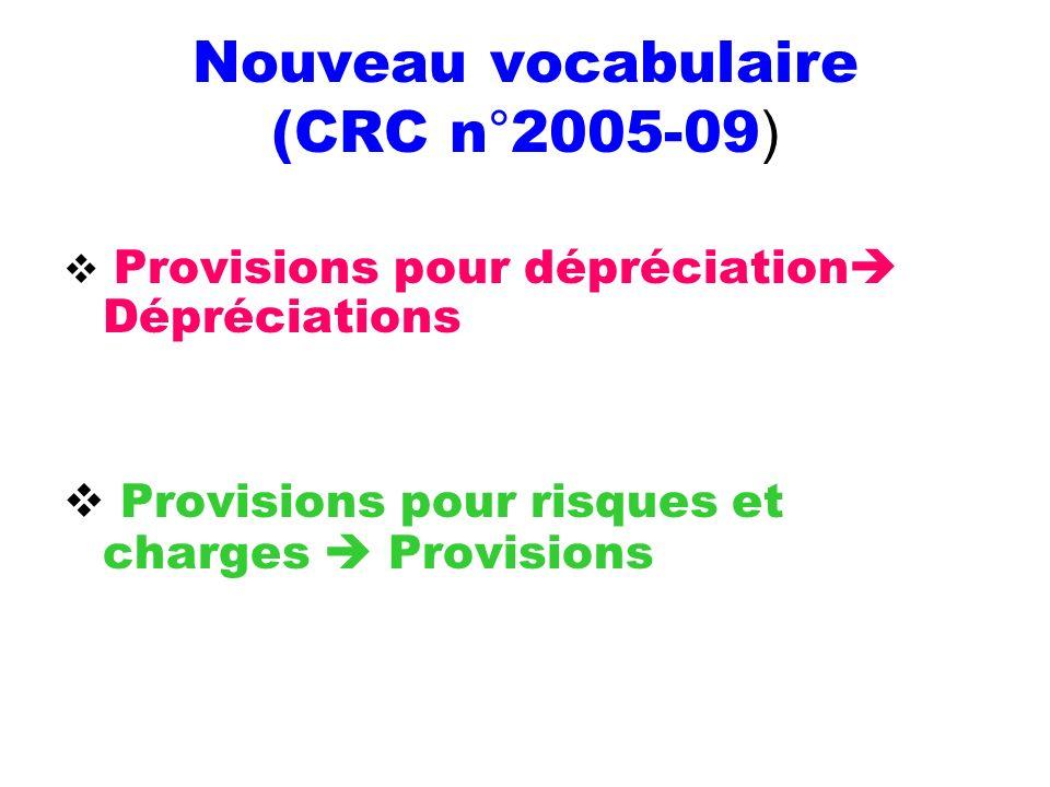 Nouveau vocabulaire (CRC n°2005-09 ) Provisions pour dépréciation Dépréciations Provisions pour risques et charges Provisions