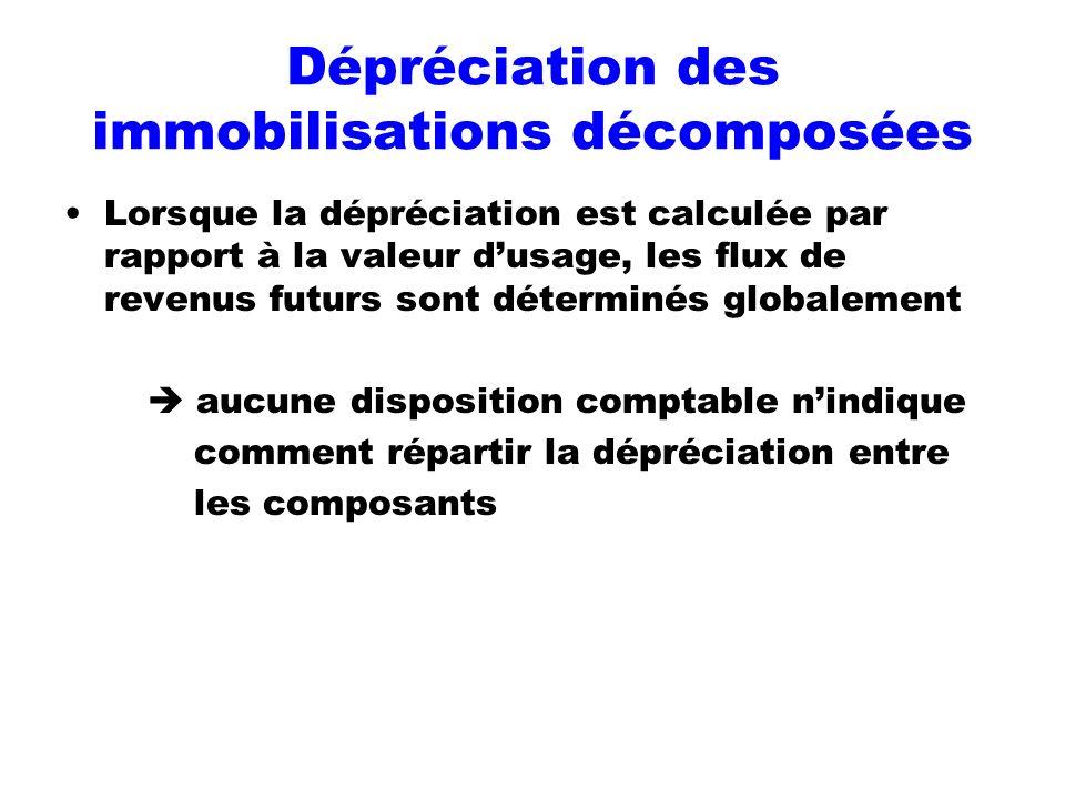 Dépréciation des immobilisations décomposées Lorsque la dépréciation est calculée par rapport à la valeur dusage, les flux de revenus futurs sont déte
