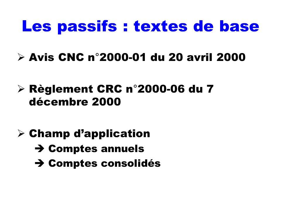 Les passifs : textes de base Avis CNC n°2000-01 du 20 avril 2000 Règlement CRC n°2000-06 du 7 décembre 2000 Champ dapplication Comptes annuels Comptes