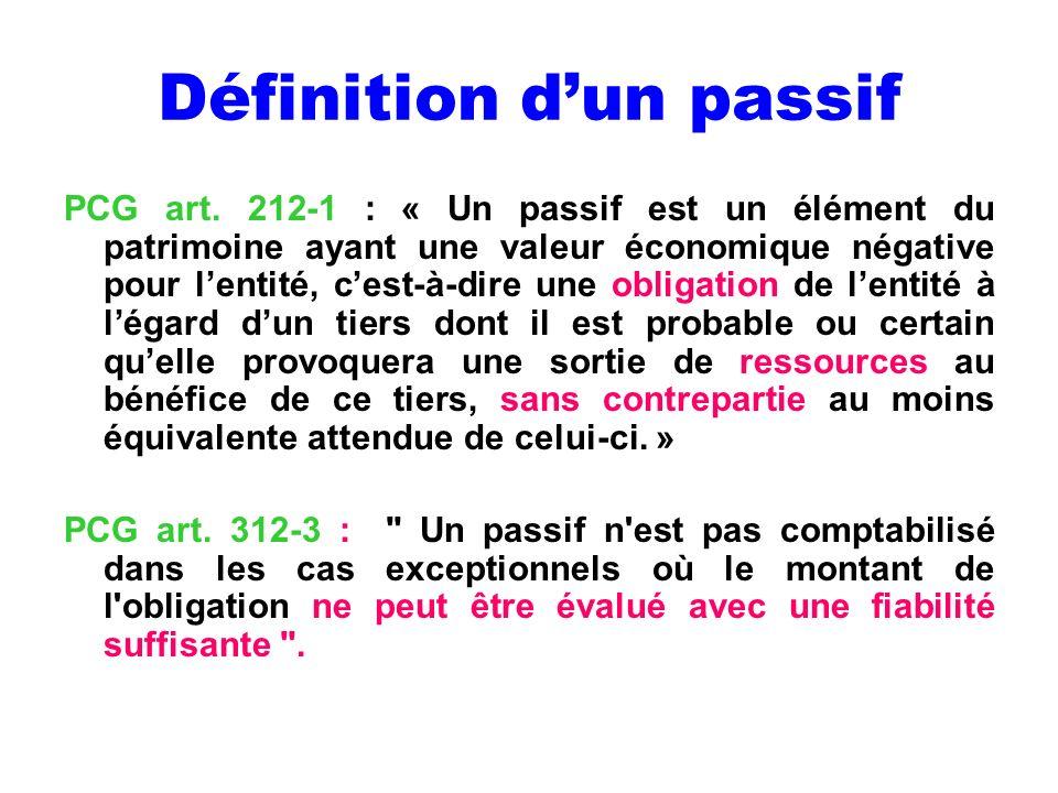 Définition dun passif PCG art. 212-1 : « Un passif est un élément du patrimoine ayant une valeur économique négative pour lentité, cest-à-dire une obl