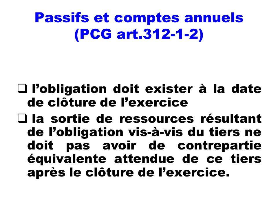 Passifs et comptes annuels (PCG art.312-1-2) lobligation doit exister à la date de clôture de lexercice la sortie de ressources résultant de lobligati