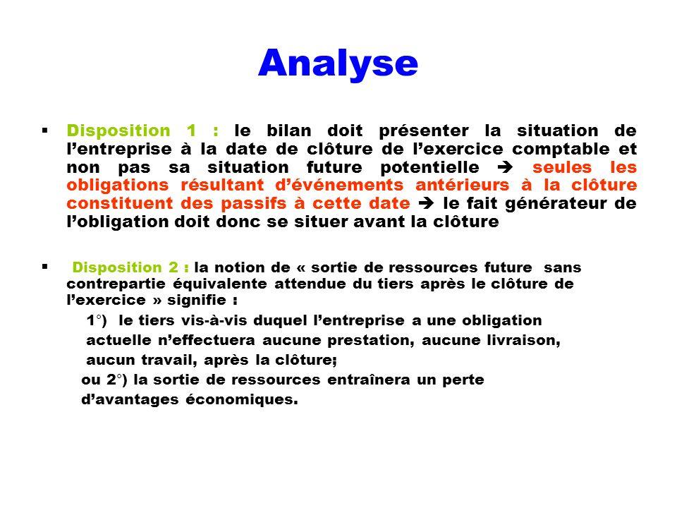 Analyse Disposition 1 : le bilan doit présenter la situation de lentreprise à la date de clôture de lexercice comptable et non pas sa situation future