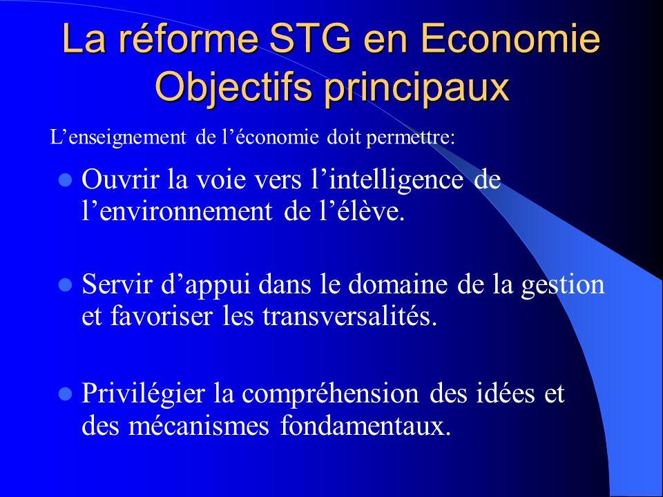 La réforme STG en Economie Objectifs principaux Ouvrir la voie vers lintelligence de lenvironnement de lélève. Servir dappui dans le domaine de la ges