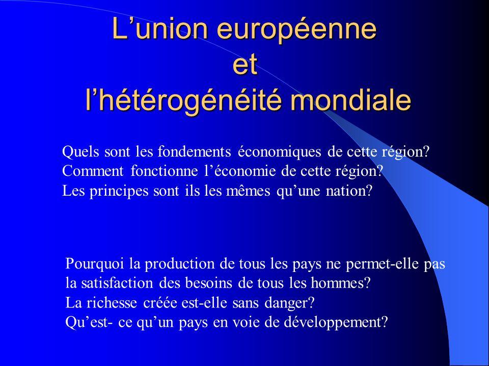 Lunion européenne et lhétérogénéité mondiale Quels sont les fondements économiques de cette région? Comment fonctionne léconomie de cette région? Les
