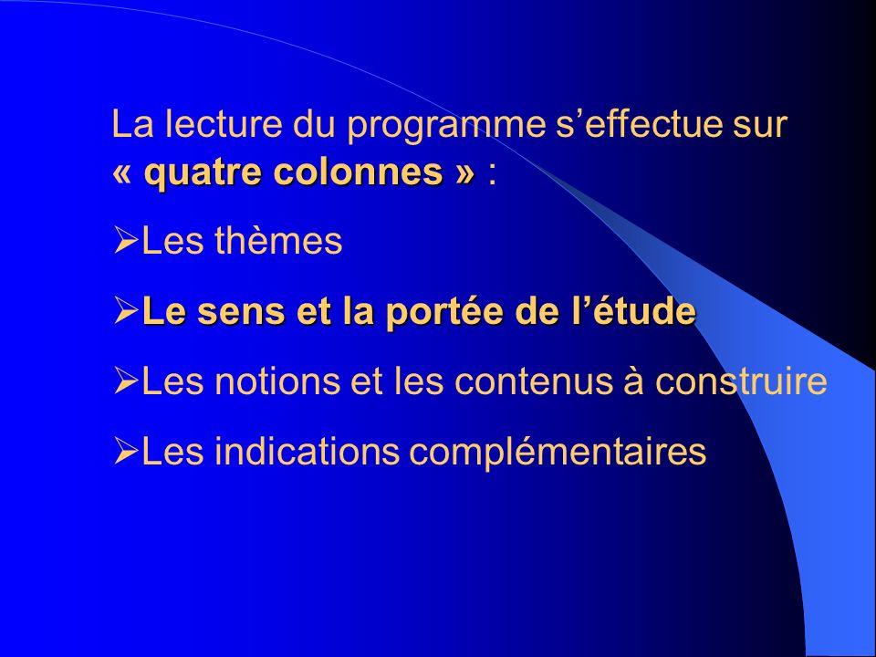 quatre colonnes » La lecture du programme seffectue sur « quatre colonnes » : Les thèmes Le sens et la portée de létude Les notions et les contenus à