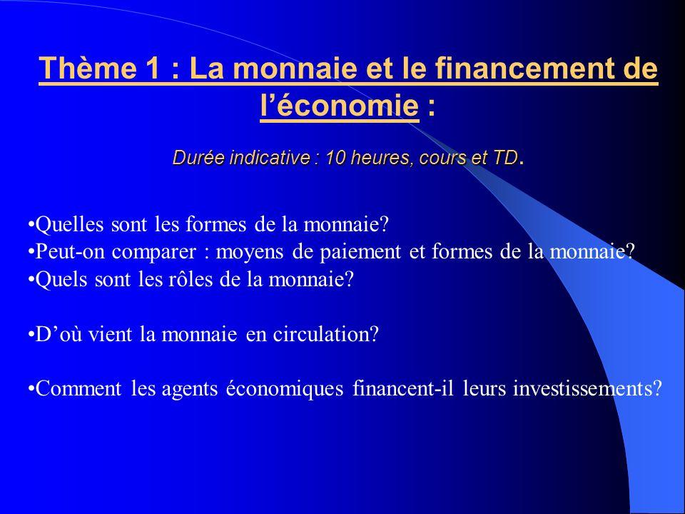 Thème 1 : La monnaie et le financement de léconomie : Durée indicative : 10 heures, cours et TD Durée indicative : 10 heures, cours et TD.