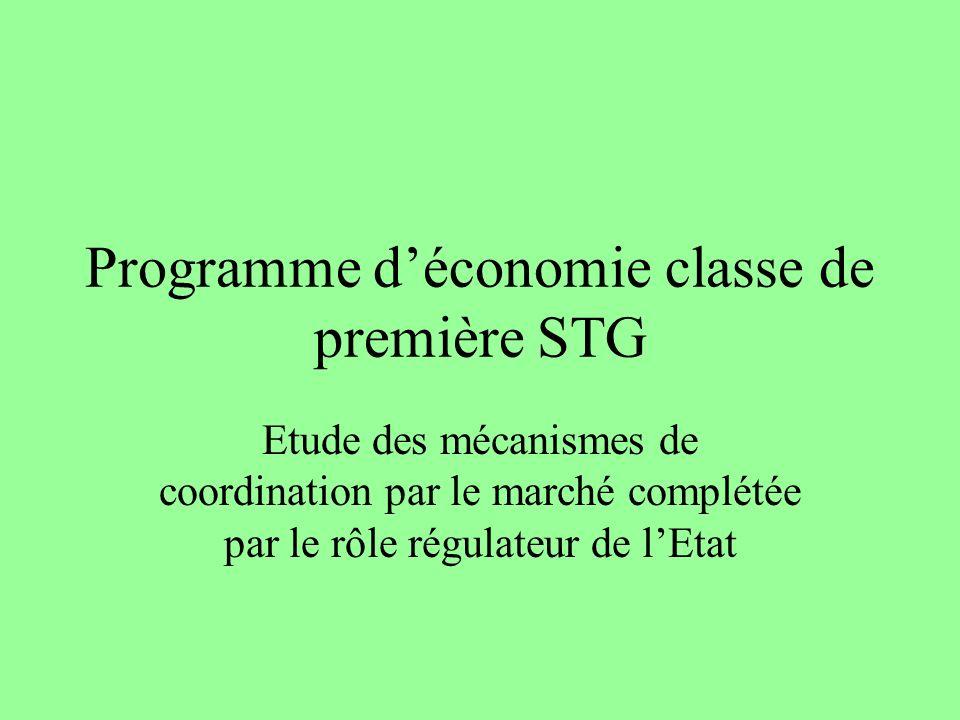 Programme déconomie classe de première STG Etude des mécanismes de coordination par le marché complétée par le rôle régulateur de lEtat