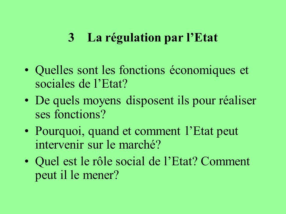 3 La régulation par lEtat Quelles sont les fonctions économiques et sociales de lEtat? De quels moyens disposent ils pour réaliser ses fonctions? Pour