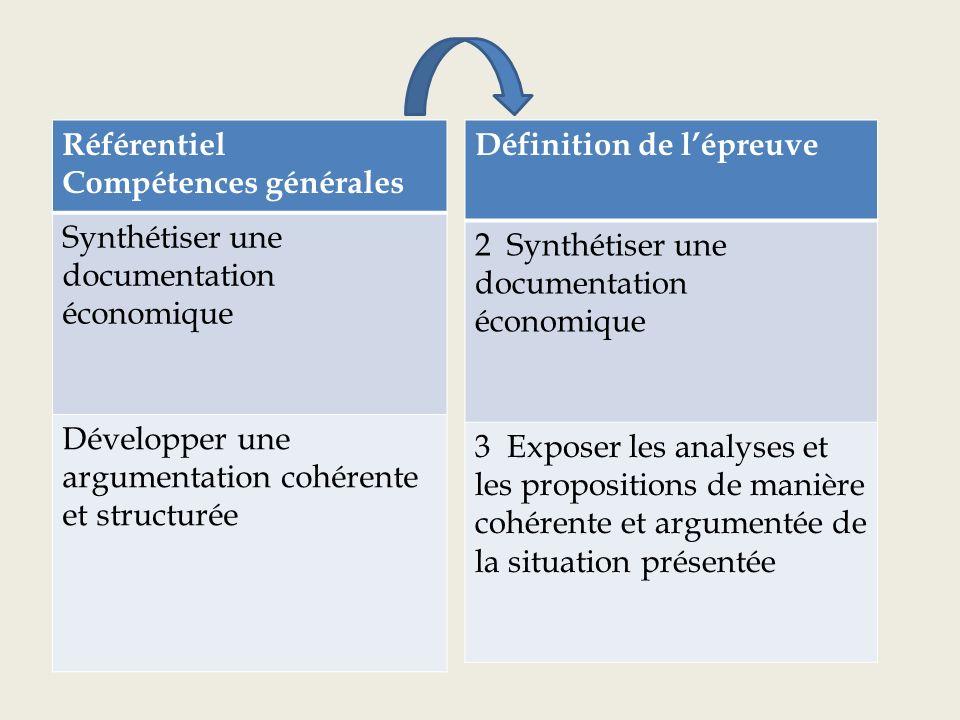 Référentiel compétences générales Définition de lépreuve tout4 Produire un écrit utilisant le vocabulaire économique approprié et témoignant dune réflexion construite par rapport aux questions posées